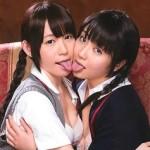 【女子校生】小西まりえと有本紗世が甘く百合カップルのレズアクメ!