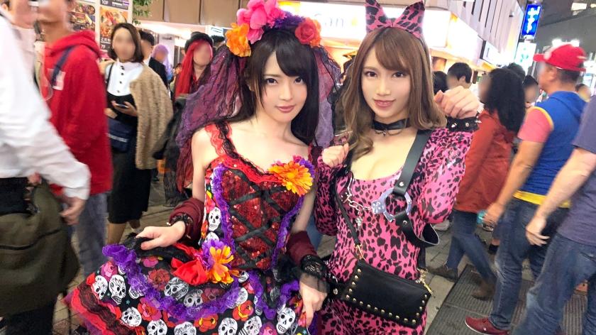 渋谷ハロウィン当日!大騒ぎ!逮捕者続出のさなか、仮装ナンパ師突入!ピンク女豹の巨乳ギャル&小悪魔セクシーな美女2人組にワンチャン狙いでグイグイ声掛けー!暴徒と化したパリピたちを横目に、ホテルで4P乱痴気騒ぎ!!