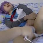 【アニコス】長門有希コスの美女を手枷で拘束して電マ責めや果てはアナルまで犯す鬼畜動画!
