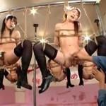 メイドカフェが鬼畜集団に占拠されて緊縛状態で吊し上げられた美女たちのオマンコ弄られまくり潮吹き!